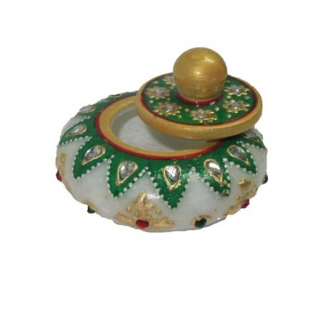 Round Sindoor Box | Craft by artist Ecraft India | Marble