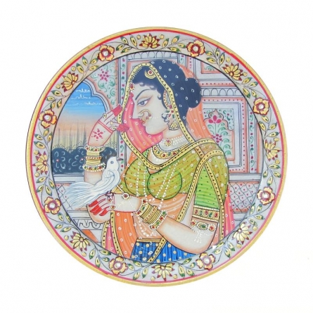 Lady With Bird | Craft by artist Ecraft India | Marble