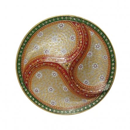 Embossed Dry Fruit Designer Plate | Craft by artist Ecraft India | Marble