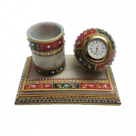 Ecraft India | Decorative Pen Stand With Watch Craft Craft by artist Ecraft India | Indian Handicraft | ArtZolo.com