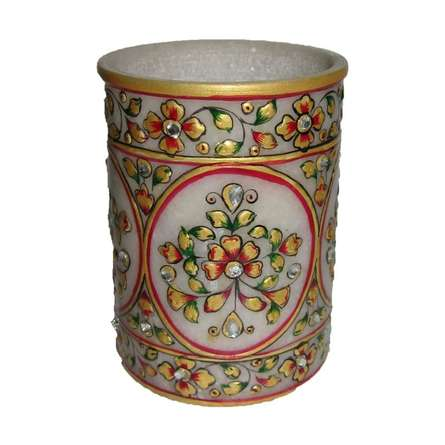 Decorative Floral Pen Stand | Craft by artist Ecraft India | Marble