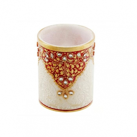 Gold Embossed Pen Stand | Craft by artist Ecraft India | Marble