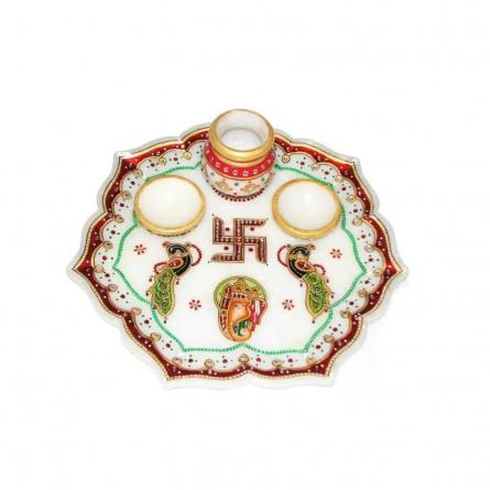 Decorative Pooja Thali | Craft by artist Ecraft India | Marble