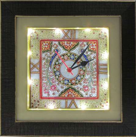 Embossed Peacock Wall Clock | Craft by artist Ecraft India | Marble