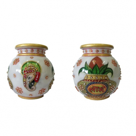 Gold Painted Marble Pot (Single P | Craft by artist Ecraft India | Marble