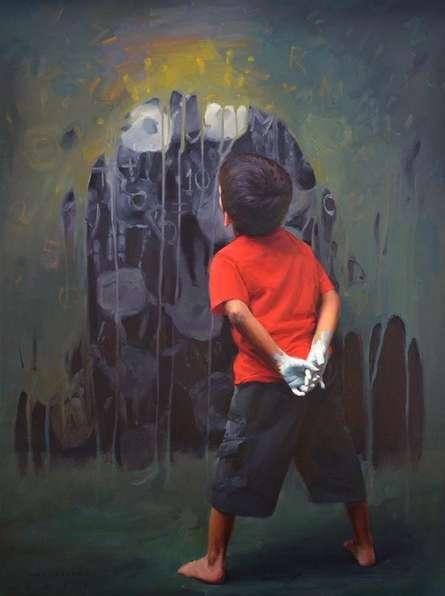 Figurative Oil Art Painting title 'Rising Hands' by artist Pramod Kurlekar