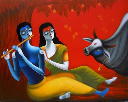 Santosh Chattopadhyay | Acrylic Painting title Romantic Couple on Canvas | Artist Santosh Chattopadhyay Gallery | ArtZolo.com
