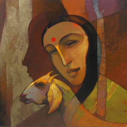 Figurative Acrylic Art Painting title 'Rural Life 2' by artist Sachin Akalekar