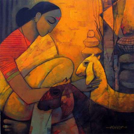Figurative Acrylic Art Painting title 'Rural Life 3' by artist Sachin Akalekar