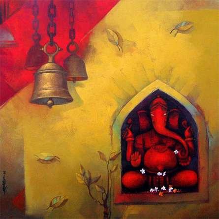 Shree Ganesh | Painting by artist Sachin Akalekar | acrylic | Canvas