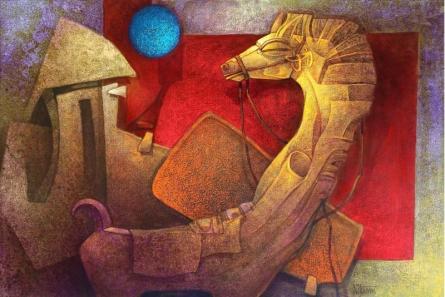Animals Acrylic Art Painting title 'The Horse Iii' by artist Nityam Singharoy