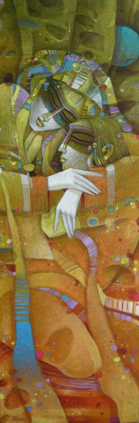 Romantic Egyptian Couple | Painting by artist Nityam Singharoy | acrylic | Canvas