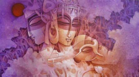Lost In Romance | Painting by artist Nityam Singharoy | acrylic | Canvas