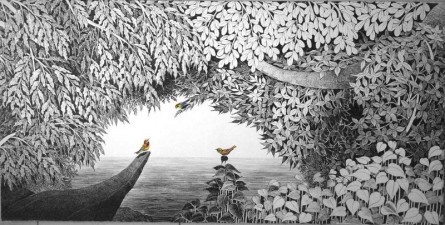 Birds Under The Tree | Painting by artist Umakant Kanade | acrylic | Canvas