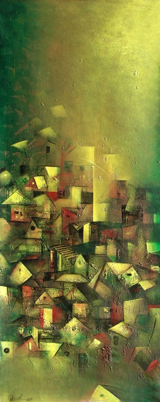 Abstract Acrylic Art Painting title 'The Golden Village' by artist M Singh