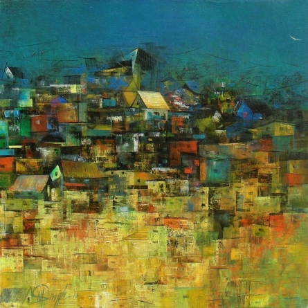 M Singh | Acrylic Painting title A Glimpse Of Village 3 on Canvas | Artist M Singh Gallery | ArtZolo.com