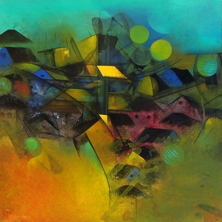 M Singh Paintings | Acrylic Painting - Village In My Dream by artist M Singh | ArtZolo.com