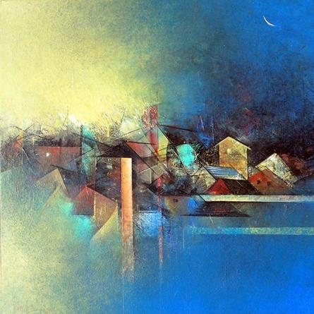 Abstract Acrylic Art Painting title 'My Village' by artist M Singh