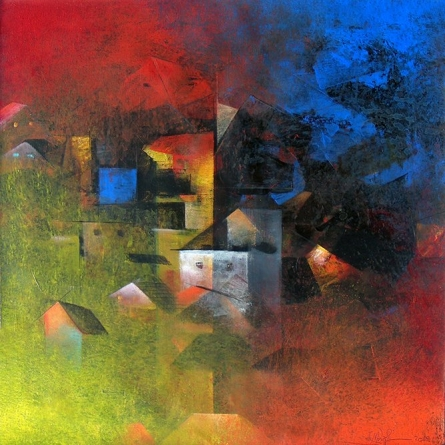 Abstract Acrylic Art Painting title 'Village in the Night Fog' by artist M Singh