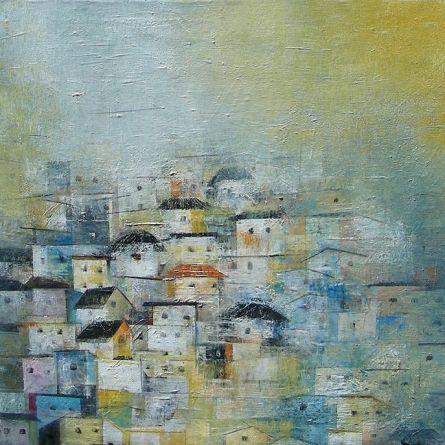 Abstract Acrylic Art Painting title The Village II by artist M Singh