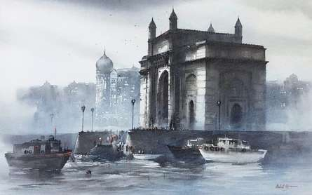 Cityscape Acrylic Art Painting title 'Gateway of India Mumbai' by artist Ashif Hossain