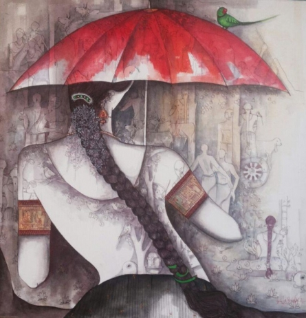 Kappari Kishan | Acrylic Painting title Girl with Red Umbrella on Canvas | Artist Kappari Kishan Gallery | ArtZolo.com