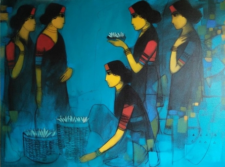 Figurative Acrylic Art Painting title 'Flower Girls Blue' by artist Sachin Sagare