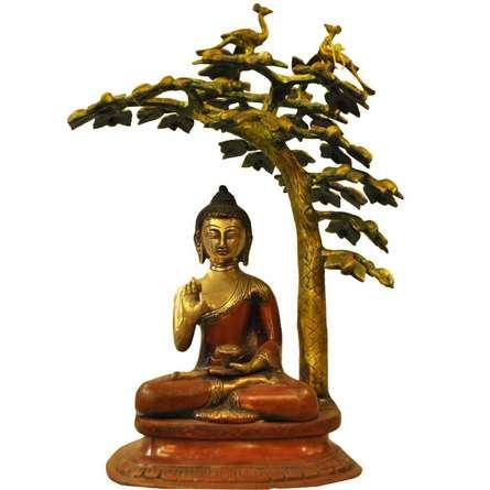Brass Art | Brass Buddha Under The Tree Craft Craft by artist Brass Art | Indian Handicraft | ArtZolo.com