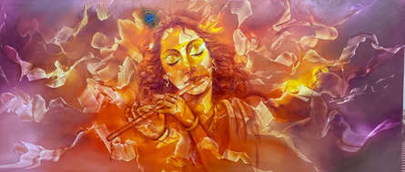 Religious Oil Art Painting title 'Krishna, Flute and Music Rhythm' by artist Prince Chand