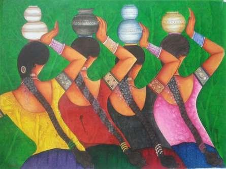 Kappari Kishan | Acrylic Painting title Village Girls on Canvas | Artist Kappari Kishan Gallery | ArtZolo.com