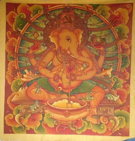 Manikandan Punnakkal | Acrylic Painting title Ganesha 5 on Canvas | Artist Manikandan Punnakkal Gallery | ArtZolo.com