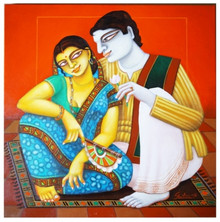 Figurative Acrylic Art Painting title Babu and Bibi 5 by artist Gautam Mukherjee