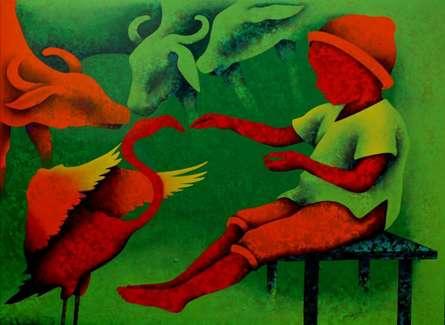 Athkheliyan 82 | Painting by artist Lakhan Singh Jat | acrylic | Canvas