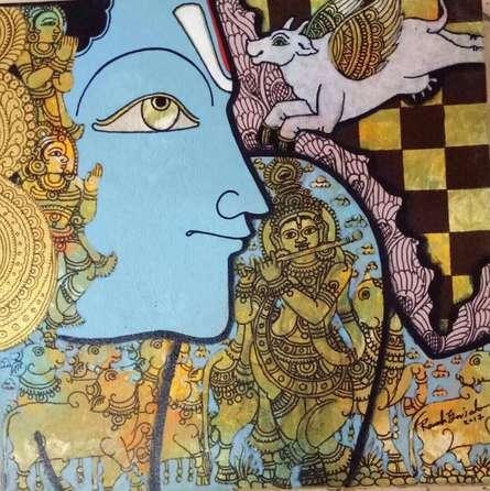 Religious Acrylic Art Painting title 'Krishna 1' by artist Ramesh Gorjala