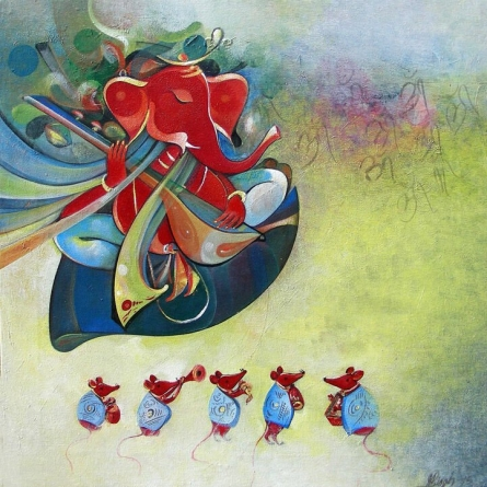 Religious Acrylic Art Painting title 'Ganesha and Its Musical Team' by artist M Singh