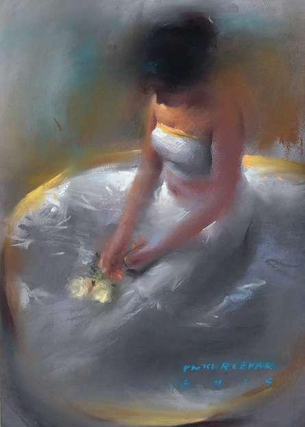 Pramod Kurlekar Paintings | Oil-pastel Painting - Girl in White by artist Pramod Kurlekar | ArtZolo.com
