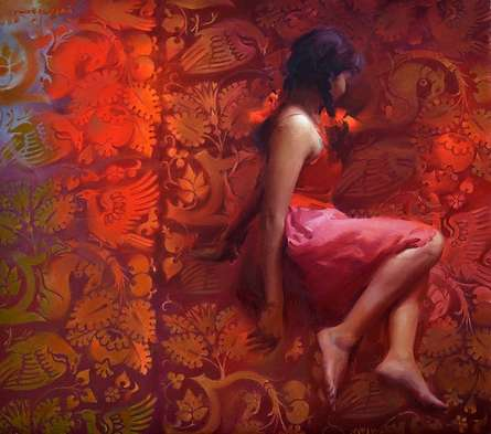 Figurative Oil Art Painting title Girl in Red by artist Pramod Kurlekar