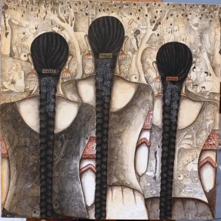 Friends | Painting by artist Kappari Kishan | acrylic | Canvas