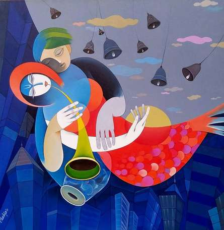 Figurative Acrylic Art Painting title Harmonious City Of Mumbai I by artist Pradip Sarkar