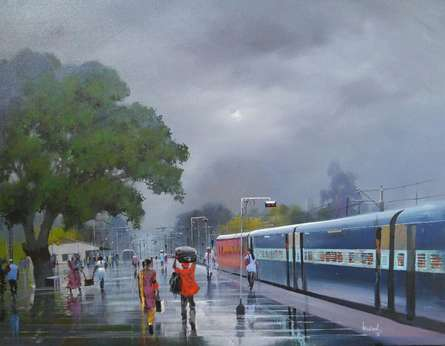 Cityscape Acrylic Art Painting title Wet Platform IX by artist Bijay Biswaal