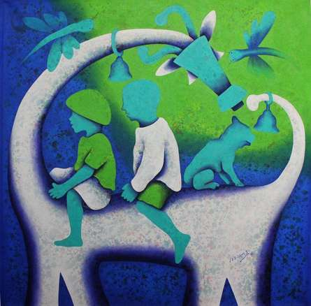 Athkheliyan 99   Painting by artist Lakhan Singh Jat   acrylic   Canvas