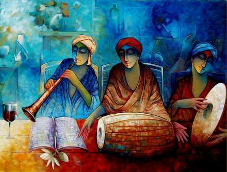 Figurative Acrylic Art Painting title 'Indian Musicians III' by artist Ram Onkar