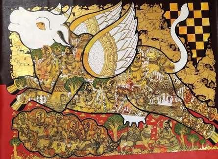 Religious Acrylic Art Painting title Kamadhenu by artist Ramesh Gorjala