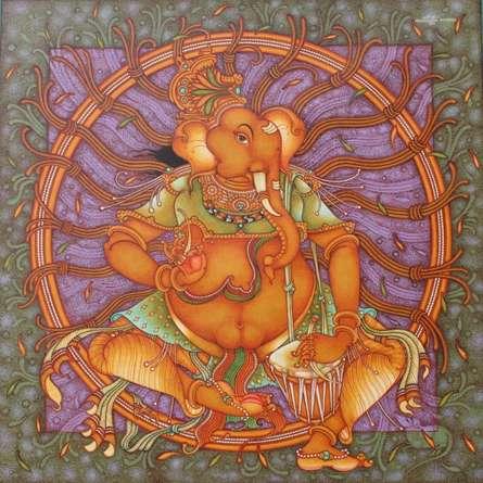 Manikandan Punnakkal | Acrylic Painting title Ganesha 6 on Canvas | Artist Manikandan Punnakkal Gallery | ArtZolo.com