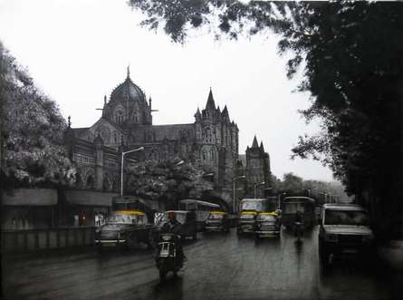 Charcoal Paintings | Drawing title Mumbai VT on Canvas | Artist Yuvraj Patil