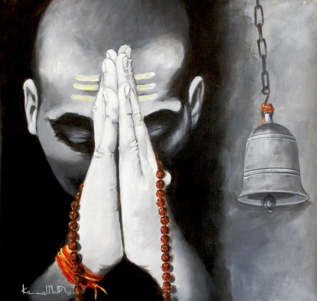 Figurative Acrylic Art Painting title 'Aastha III' by artist Kamal Nath