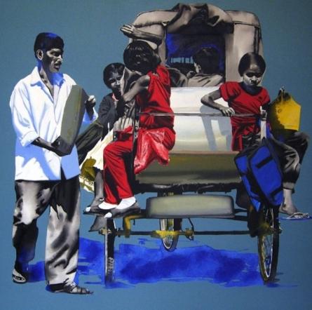 School Time | Painting by artist Manohar Rathod | acrylic | Canvas