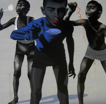 Figurative Acrylic Art Painting title 'Boys' by artist Manohar Rathod
