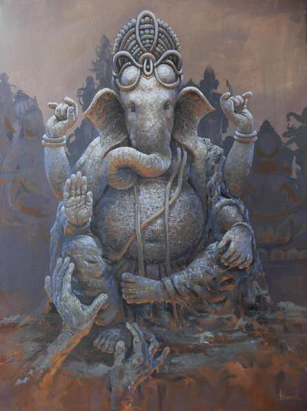 Religious Acrylic Art Painting title 'Prarambh' by artist Bijay Biswaal
