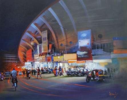 Raat Baaki I | Painting by artist Bijay Biswaal | acrylic | Canvas